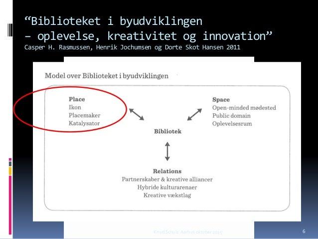 """""""Biblioteket i byudviklingen – oplevelse, kreativitet og innovation"""" Casper H. Rasmussen, Henrik Jochumsen og Dorte Skot H..."""