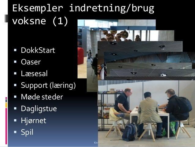 Eksempler indretning/brug voksne (1)  DokkStart  Oaser  Læsesal  Support (læring)  Møde steder  Dagligstue  Hjørnet...