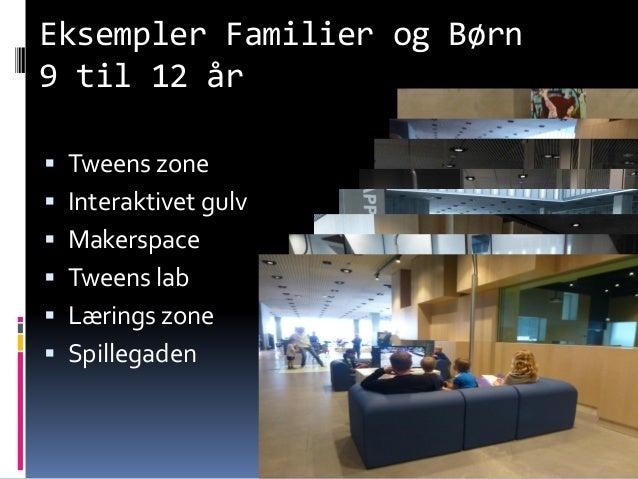 Eksempler Familier og Børn 9 til 12 år  Tweens zone  Interaktivet gulv  Makerspace  Tweens lab  Lærings zone  Spille...
