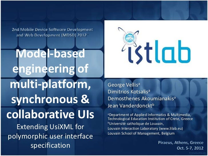 Model-based engineering of multi-platform,             George Vellisa                             Dimitrios Kotsalisa sync...