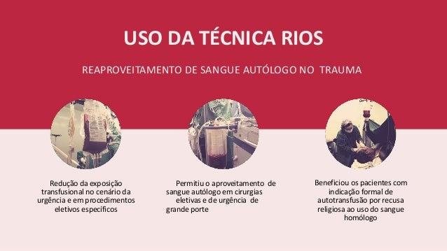 USO DA TÉCNICA RIOS REAPROVEITAMENTO DE SANGUE AUTÓLOGO NO TRAUMA Redução da exposição transfusional no cenário da urgênci...