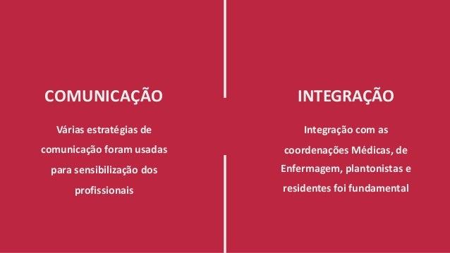 COMUNICAÇÃO Várias estratégias de comunicação foram usadas para sensibilização dos profissionais INTEGRAÇÃO Integração com...