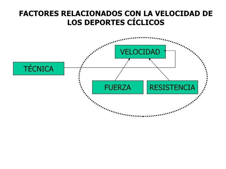FACTORES RELACIONADOS CON LA VELOCIDAD DE LOS DEPORTES CÍCLICOS VELOCIDAD RESISTENCIA FUERZA TÉCNICA