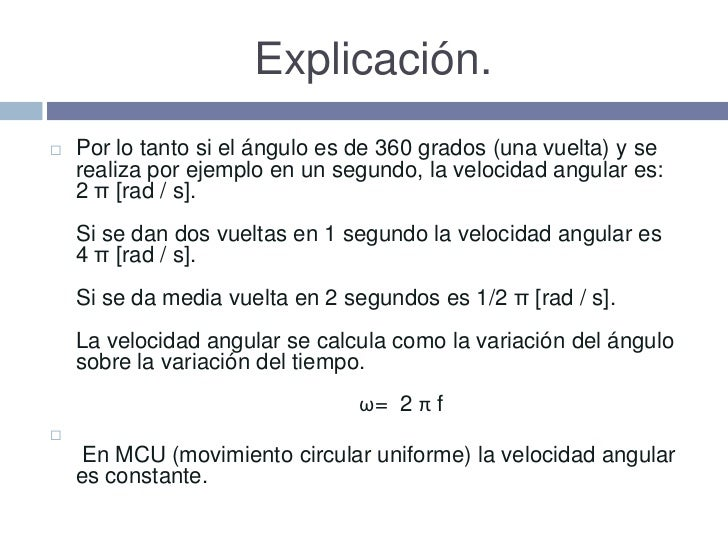 Rpm Para Rad S >> Velocidad Angular