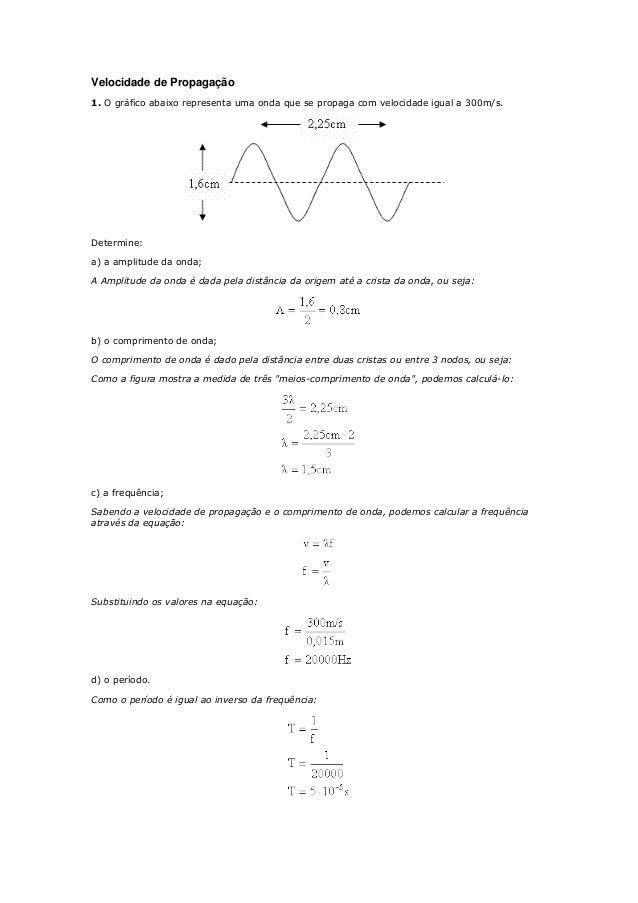 Velocidade de Propagação  1. O gráfico abaixo representa uma onda que se propaga com velocidade igual a 300m/s.  Determine...