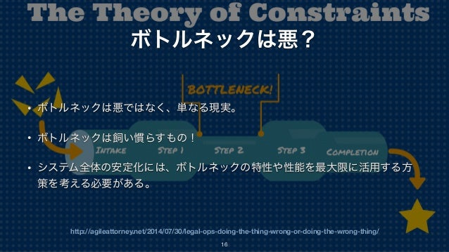http://agileattorney.net/2014/07/30/legal-ops-doing-the-thing-wrong-or-doing-the-wrong-thing/ ボトルネックは悪? • ボトルネックは悪ではなく、単なる...