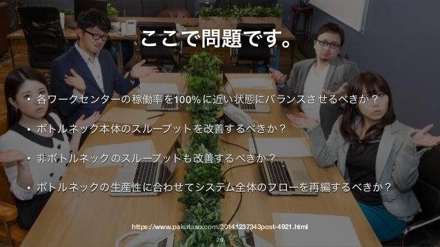 https://www.pakutaso.com/20141237343post-4921.html ここで問題です。 • 各ワークセンターの稼働率を100%に近い状態にバランスさせるべきか? • ボトルネック本体のスループットを改善するべきか...