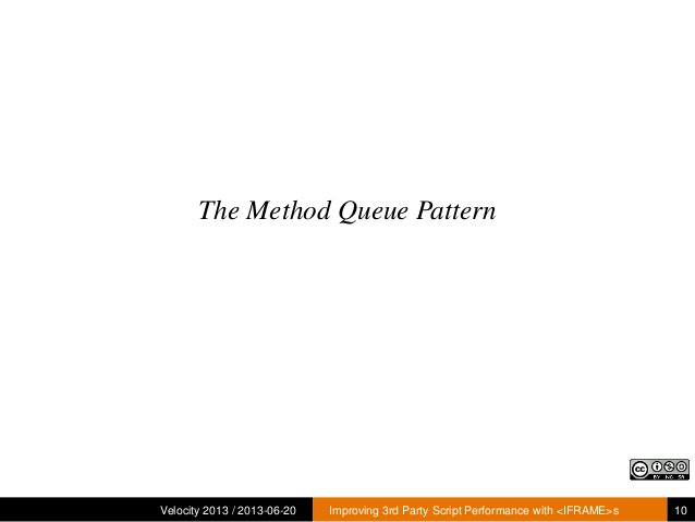 The Method Queue PatternVelocity 2013 / 2013-06-20 Improving 3rd Party Script Performance with <IFRAME>s 10