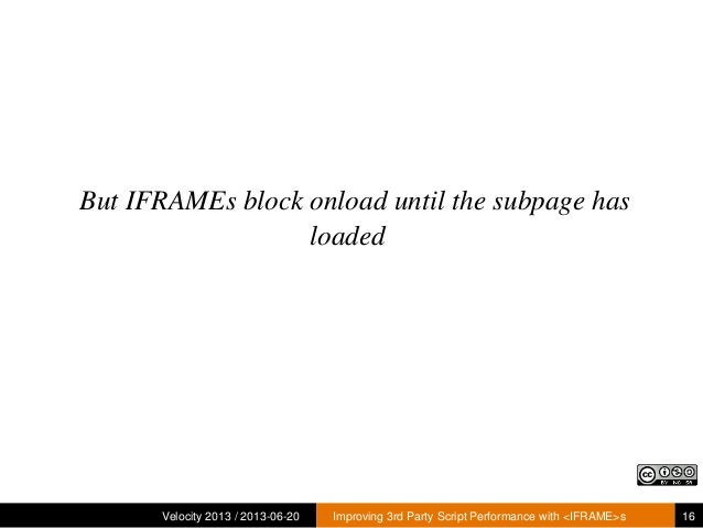 But IFRAMEs block onload until the subpage hasloadedVelocity 2013 / 2013-06-20 Improving 3rd Party Script Performance with...