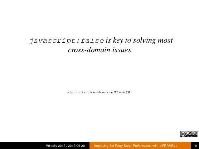 javascript:false is key to solving mostcross-domain issuesAsk me about about:blankVelocity 2013 / 2013-06-20 Improving 3rd...