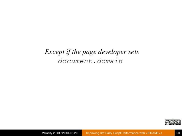 Except if the page developer setsdocument.domainVelocity 2013 / 2013-06-20 Improving 3rd Party Script Performance with <IF...