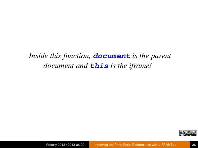 Inside this function, document is the parentdocument and this is the iframe!Velocity 2013 / 2013-06-20 Improving 3rd Party...