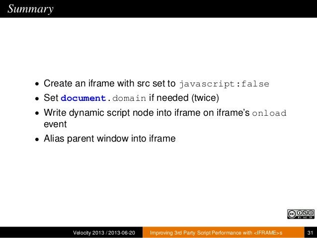 Summary• Create an iframe with src set to javascript:false• Set document.domain if needed (twice)• Write dynamic script no...