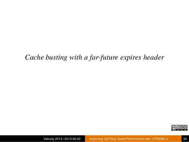 Cache busting with a far-future expires headerVelocity 2013 / 2013-06-20 Improving 3rd Party Script Performance with <IFRA...