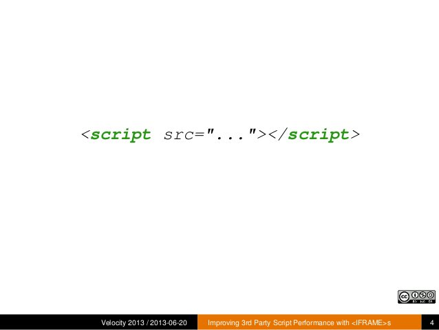 """<script src=""""...""""></script>Velocity 2013 / 2013-06-20 Improving 3rd Party Script Performance with <IFRAME>s 4"""