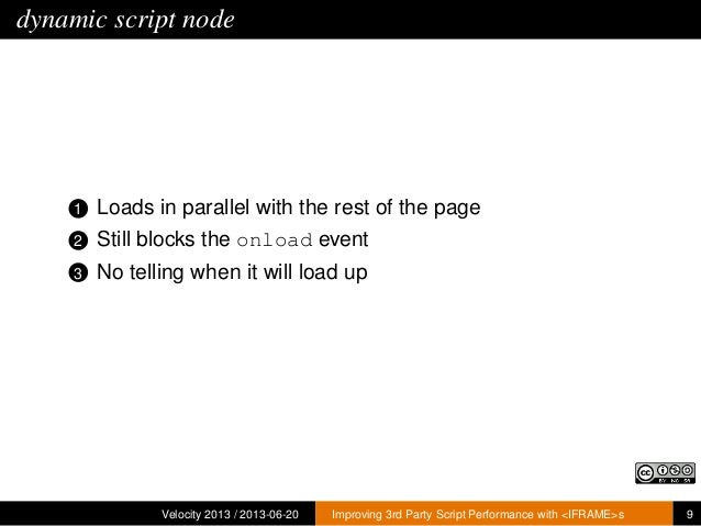 dynamic script node1 Loads in parallel with the rest of the page2 Still blocks the onload event3 No telling when it will l...