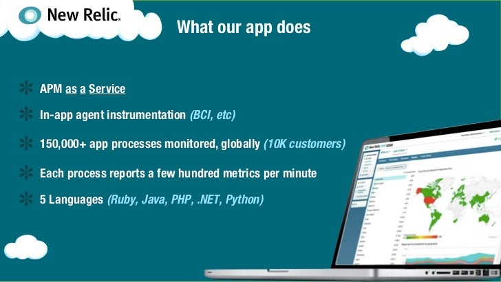 What our app doesAPM as a ServiceIn-app agent instrumentation (BCI, etc)150,000+ app processes monitored, globally (10K cu...