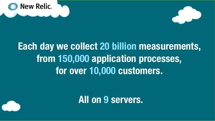 Each day we collect 20 billion measurements,    from 150,000 application processes,         for over 10,000 customers.    ...