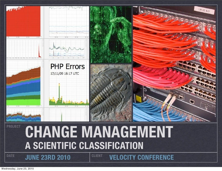 CHANGE MANAGEMENT    PROJECT                      A SCIENTIFIC CLASSIFICATION    DATE                           CLIENT   ...