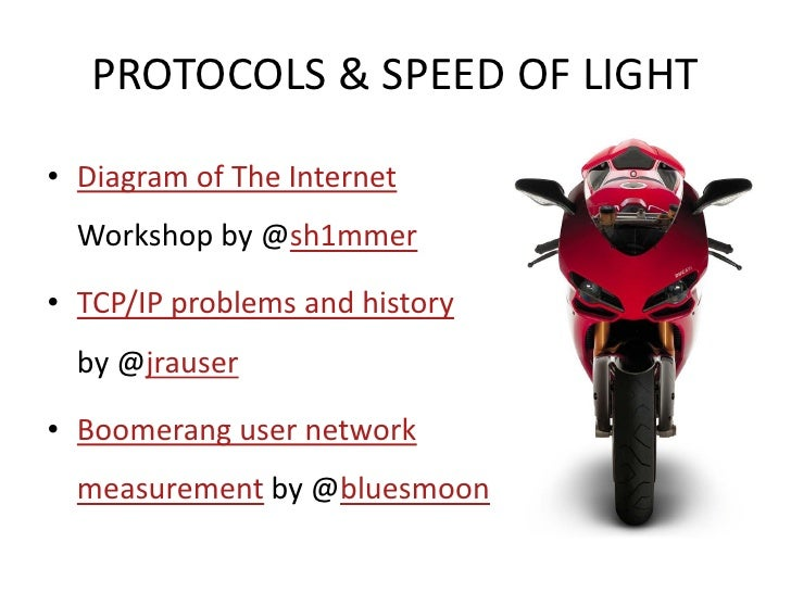 PROTOCOLS & SPEED OF LIGHT  • Diagram of The Internet   Workshop by @sh1mmer  • TCP/IP problems and history   by @jrauser ...