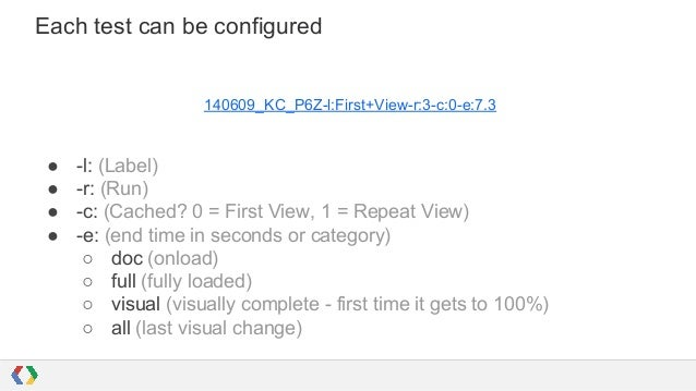 Each test can be configured 140609_KC_P6Z-l:First+View-r:3-c:0-e:7.3 ● -l: (Label) ● -r: (Run) ● -c: (Cached? 0 = First Vi...