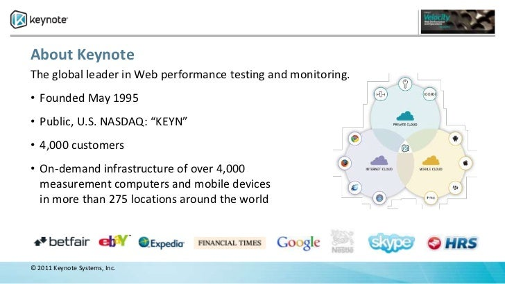 """About KeynoteThe global leader in Web performance testing and monitoring.• Founded May 1995• Public, U.S. NASDAQ: """"KEYN""""• ..."""