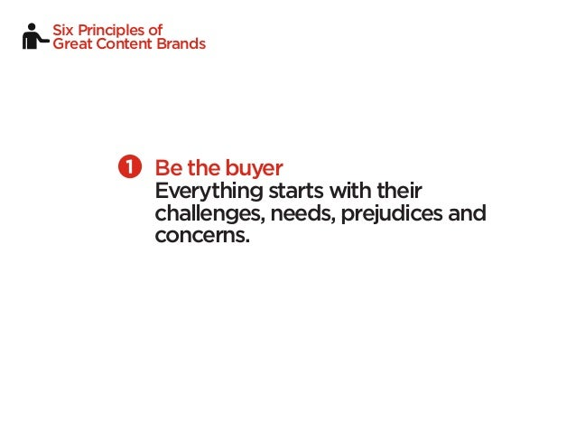 Six Principles ofGreat Content Brands             Be the buyer             Everything starts with their             challe...