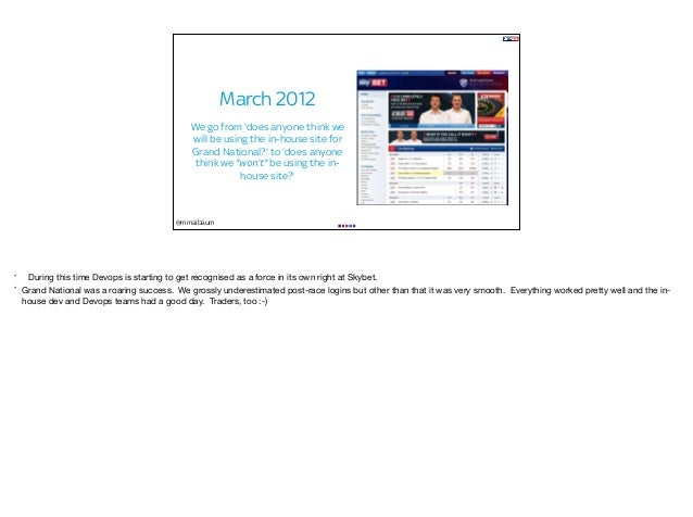 @mmaibaum March 2012 We go from 'does anyone think we will be using the in-house site for Grand National?' to 'does anyone...