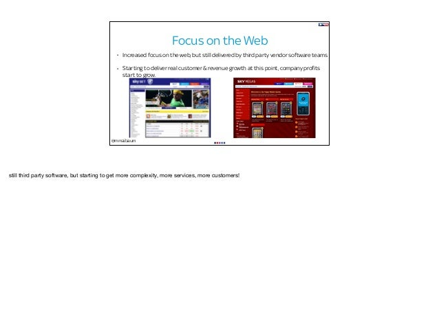 @mmaibaum Focus on the Web • Increased focus on the web, but still delivered by third party vendor software teams • Starti...