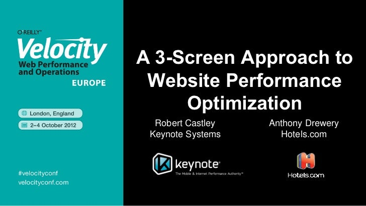 A 3-Screen Approach to Website Performance     Optimization  Robert Castley   Anthony Drewery Keynote Systems     Hotels.com