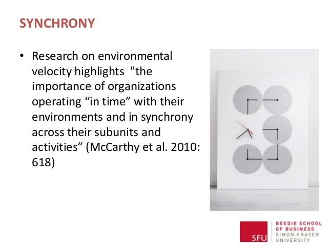 """SYNCHRONY • Research on environmental velocity highlights """"the importance of organizations operating """"in time"""" with their ..."""