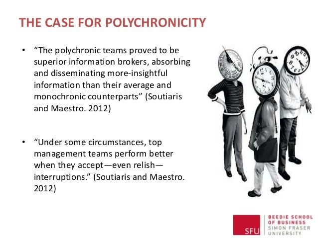 """THE CASE FOR POLYCHRONICITY • """"The polychronic teams proved to be superior information brokers, absorbing and disseminatin..."""