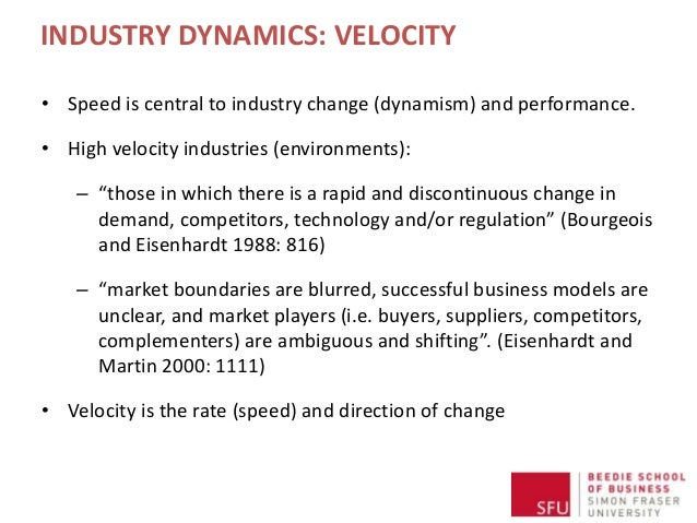 INDUSTRY DYNAMICS: VELOCITY • Speed is central to industry change (dynamism) and performance. • High velocity industries (...