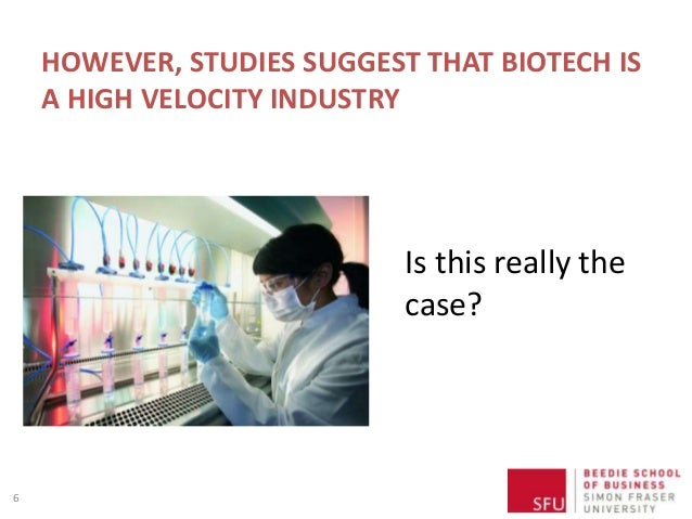 HOWEVER, STUDIES SUGGEST THAT BIOTECH IS A HIGH VELOCITY INDUSTRY 6 Is this really the case?