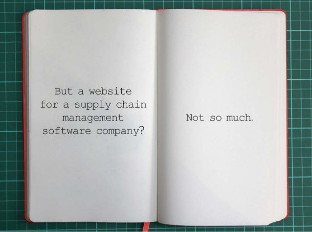 But a website for a supply chain management software company? Not so much.