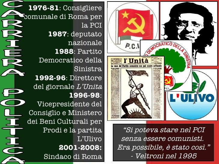 1976-81 : Consigliere comunale di Roma per la PCI 1987 : deputato nazionale 1988 : Partito Democratico della Sinistra 1992...