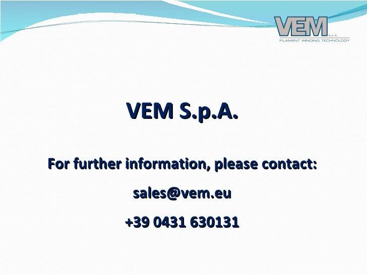 vem - cw continuous filament winding plant