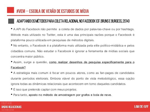 COLETA DE nas mídias sociais Documentaçãodasfan-pages Query <user>/likes?fields=name,username,about,talking_about_count,fa...