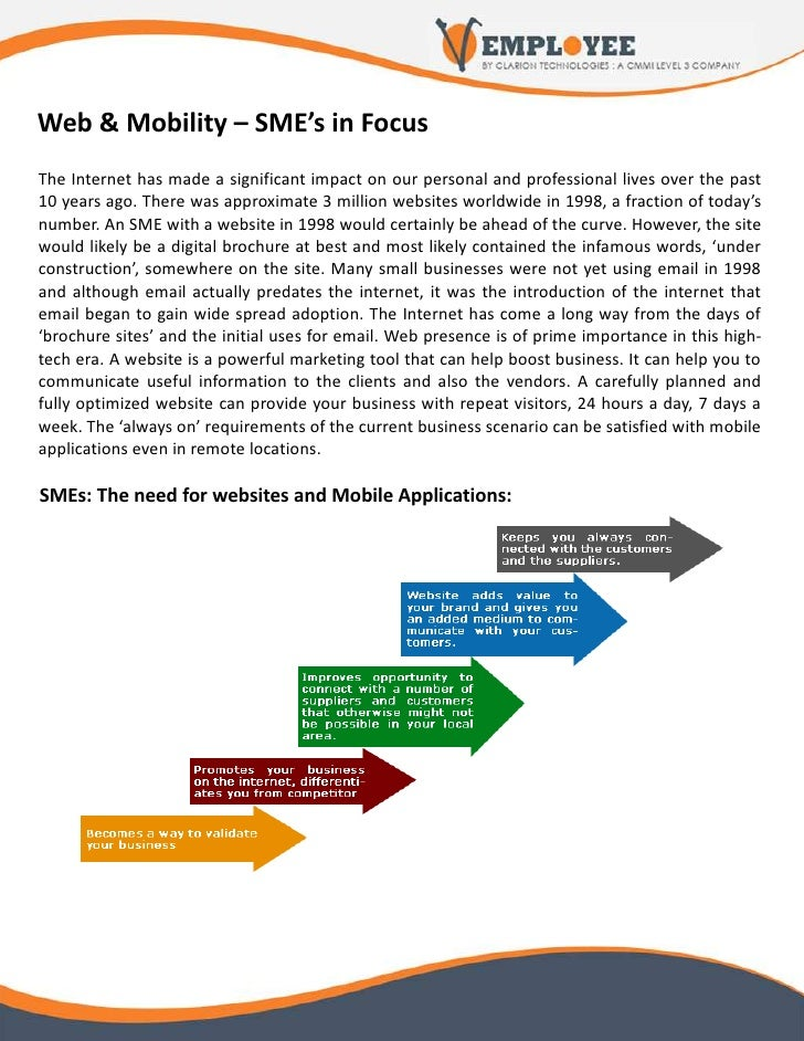 Web & Mobility – SME's in Focus The Internet has made a significant impact on our personal and professional lives over the...