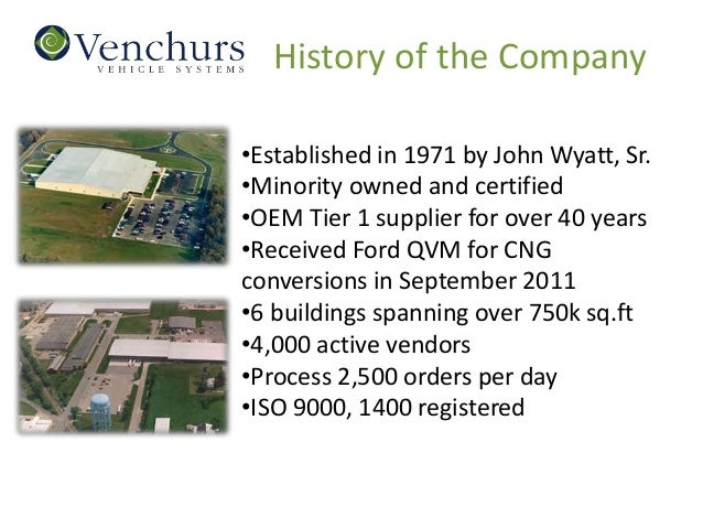 History of the Company•Established in 1971 by John Wyatt, Sr.•Minority owned and certified•OEM Tier 1 supplier for over 40...