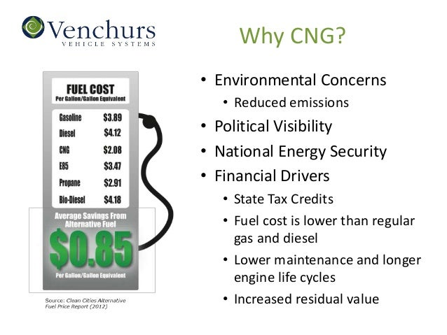 Why CNG?• Environmental Concerns   • Reduced emissions• Political Visibility• National Energy Security• Financial Drivers ...