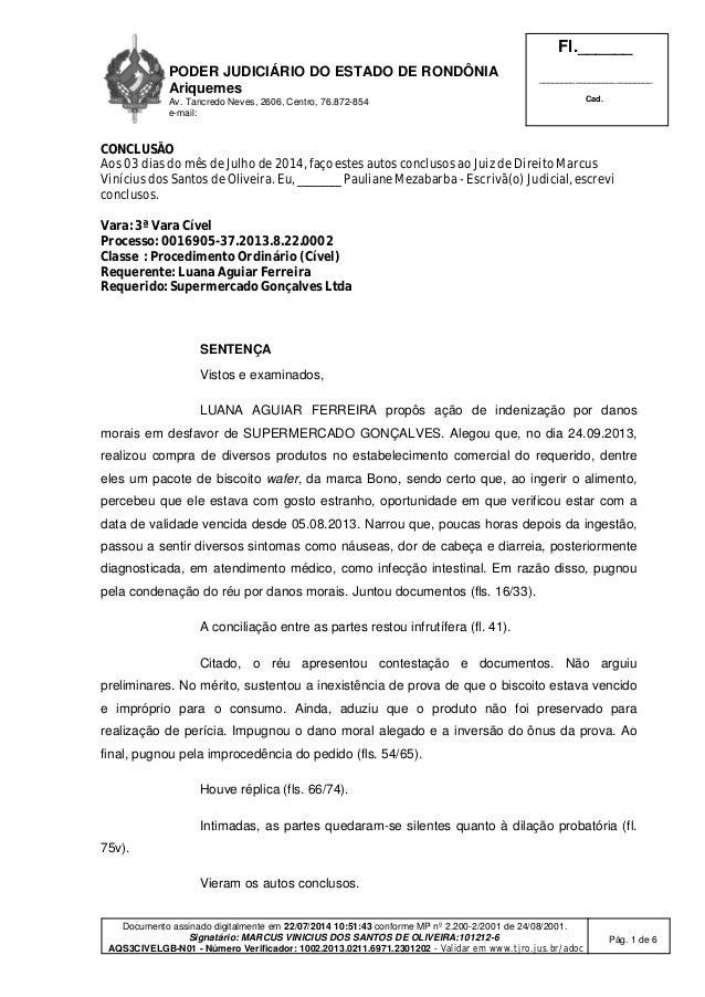 PODER JUDICIÁRIO DO ESTADO DE RONDÔNIA Ariquemes Av. Tancredo Neves, 2606, Centro, 76.872-854 e-mail: Fl.______ __________...