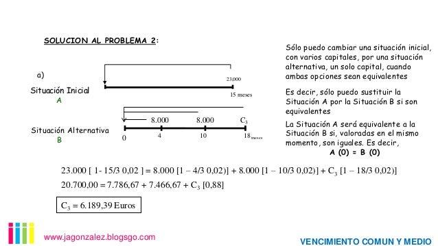 SOLUCION AL PROBLEMA 2:  a)  Sólo puedo cambiar una situación inicial, con varios capitales, por una situación alternativa...