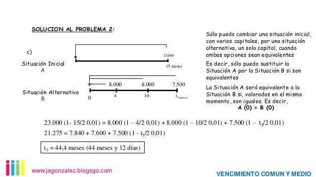 SOLUCION AL PROBLEMA 2:  c)  Sólo puedo cambiar una situación inicial, con varios capitales, por una situación alternativa...