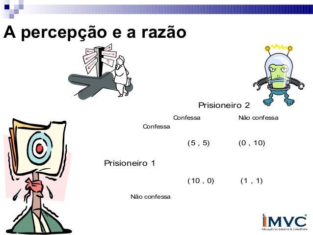 A percepção e a razão  Prisioneiro 2 Confessa  Não confessa  Confessa  (5 , 5)  (0 , 10)  Prisioneiro 1 (10 , 0) Não confe...