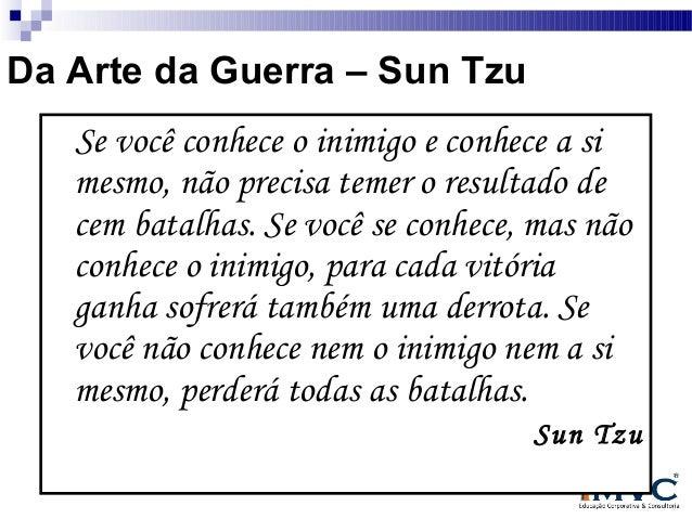 Da Arte da Guerra – Sun Tzu Se você conhece o inimigo e conhece a si mesmo, não precisa temer o resultado de cem batalhas....