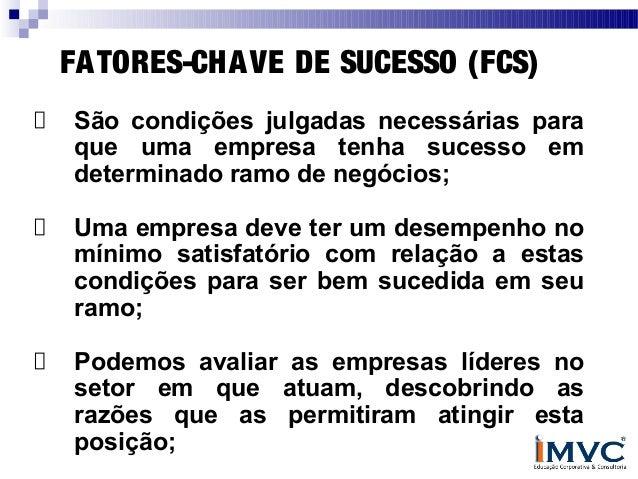 FA TORES-CHA VE DE SUCESSO (FCS) São condições julgadas necessárias para que uma empresa tenha sucesso em determinado ramo...