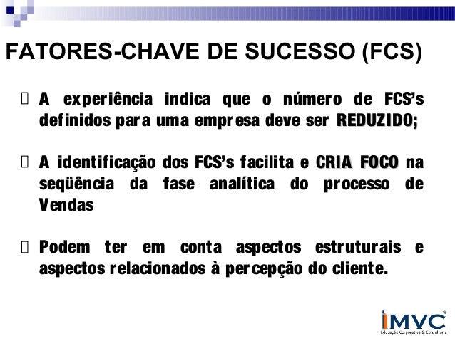 FATORES-CHAVE DE SUCESSO (FCS) A exper iência indica que o númer o de FCS's definidos par a uma empr esa deve ser REDUZIDO...