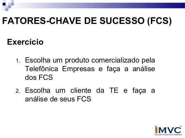 FATORES-CHAVE DE SUCESSO (FCS) Exercício 1.  Escolha um produto comercializado pela Telefônica Empresas e faça a análise d...