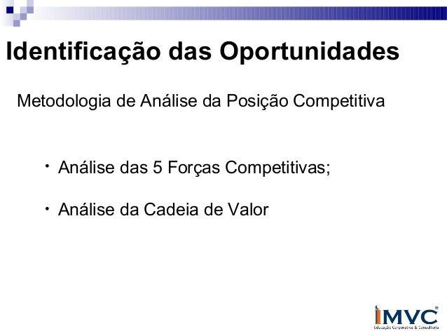 Identificação das Oportunidades Metodologia de Análise da Posição Competitiva  •  Análise das 5 Forças Competitivas;  •  A...